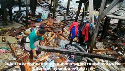 Puluhan Rumah di Batam Raib Diterjang Gelombang Pasang